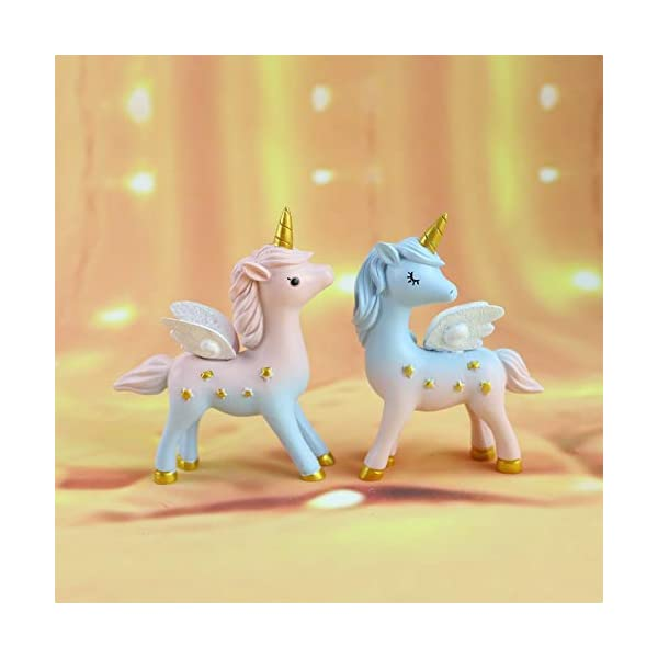 2 Style Unicorn Figurine, Mini Resin Unicorn Cake Topper for Baby Shower Kids Birthday Party Office Desk Decoration… 4