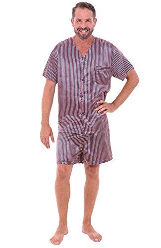 Satin Striped Button - Alexander Del Rossa Mens Satin Pajamas, Short V-Neck Pj Set, Medium Red and Navy Blue Striped (A0613R08MD)