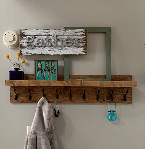 Coat Rack with Shelf (Choose your Length) Entryway Organizer Wall ()