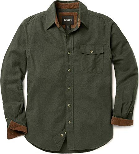 CQR Men's Flannel Long Sleeved Button-Up Plaid All Cotton Brushed Shirt, Solid(hof110) - Hunter Green, Large