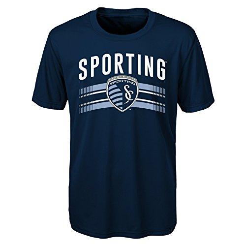 MLS Kansas City Sporting Boys Performance Short Sleeve Tee, Medium/Size (10-12), Strong Blue