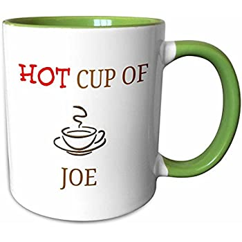 3dRose 180073_7 hot Joe, red and Brown Lettering with Picture of Cup of Coffee, Green Mug, 11 oz
