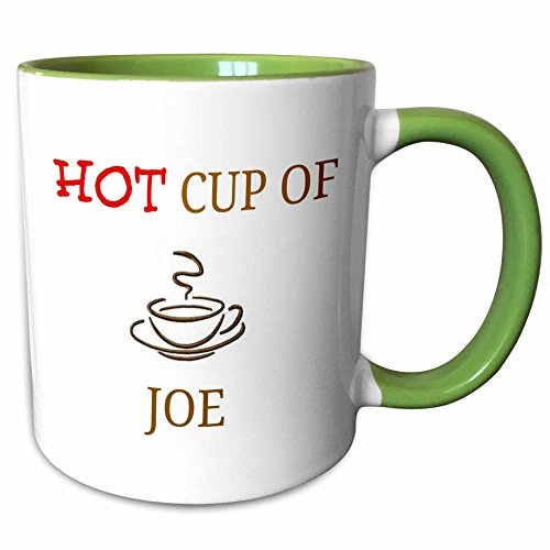 - 3dRose 180073_7 hot Joe, red and Brown Lettering with Picture of Cup of Coffee, Green Mug, 11 oz