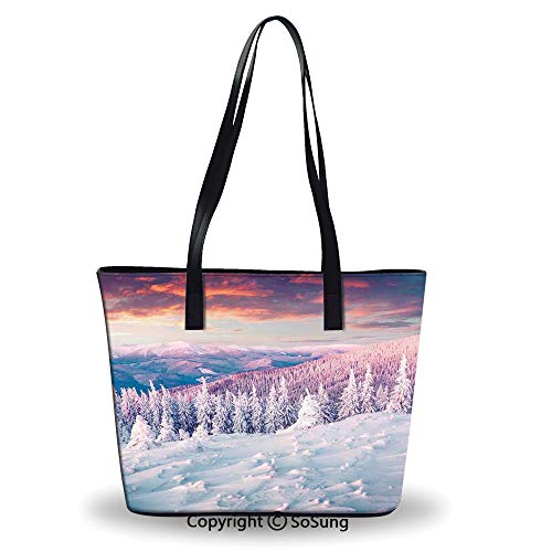 Pine Rattan Table - Women's Tote Shoulder Bag,European Mountain Pine Forest with Sky Colors Overcast