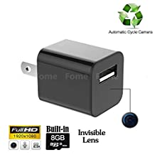 Hidden Camera Charger, FOME 1080P HD USB Wall AC Plug Charger Spy Camera Hidden Motion Activated Wireless Hidden Home Security Covert Nanny Spy Camcorder adapter With 8GB Internal Memory
