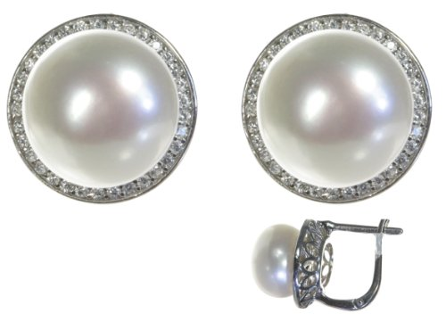 Classical 925 Sterling Silver 11.0mm Freshwater Cultured Pearl Women Huggies Earrings with Cubic Zirconia CZ