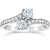 Deals on 1 Carat Forever Us Diamond Two Stone Engagement Ring 10K