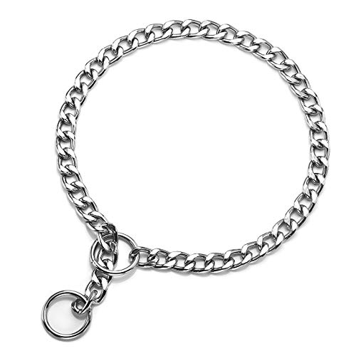 Mogoko Stainless Steel Dog Choke Chain Collar, Puppy Metal P Chain Slip Collar Pet Titan Training Walking Choker(3.0mm;22.0 ()