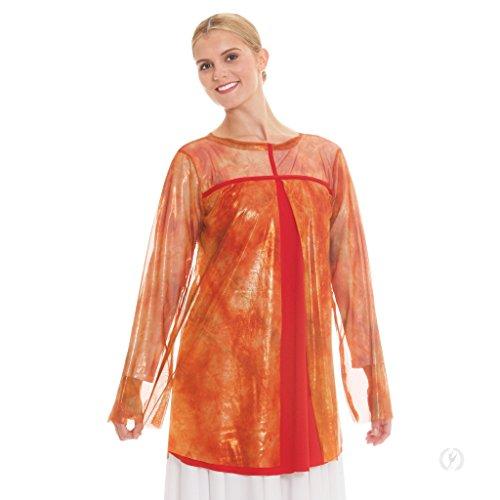 Eurotard Girl's Flame of Fire Split Layer Tunic (Flame Orange, Large) - -