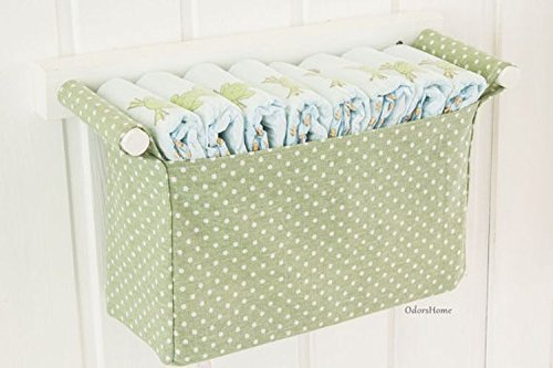 Wall hanging diaper caddy in light olive, dark mint colour, baby nursery room, baby shower gift