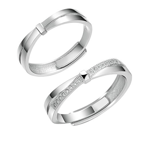 Yoursfs S925 Sterling Silver Simple Ripple Couples Ring Waves Design Adjustable Couples Promise Rings Mens Womens Wedding ()