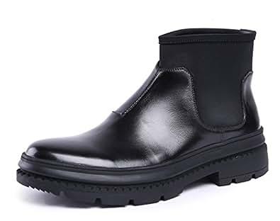 Amazon.com   FARYM Men's Black Leather Winter Ankle Boots
