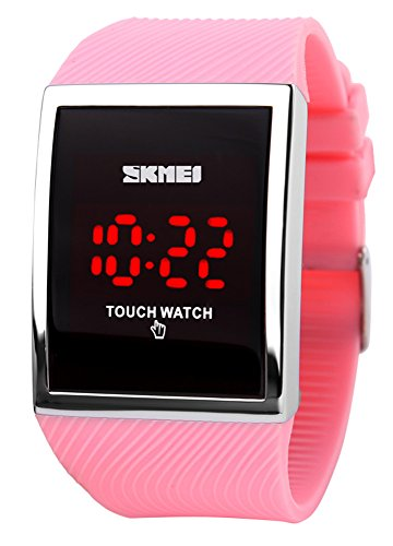 Price comparison product image Gosasa Women Touch Screen LED Digital Bracelet Watches For Girls Ladies Electronic Wristwatches Waterproof Hot Pink