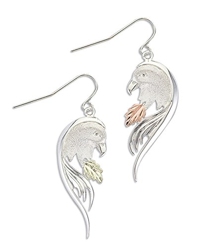(Black Hills Silver Eagle Earrings with 12K Gold Leaves)