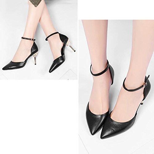Simplicité taille 677 UK Et 4 De Femmes Printemps Et EU DALL Mode 8 Talons 37 Sandales Ly Été Haut Chaussures 5 Couleur Escarpins Tête Hauts Pointue Talons Pour Noir CN37 Mince 5 Cm Kaki 5 qECCXwxFT