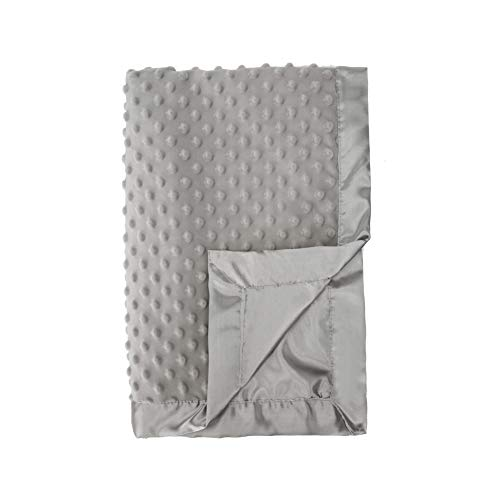 Pro Goleem Grey Baby Soft Minky Dot Blanket with Satin Backing Gifts for Girls and Boys (Gray, 30'' x 40'')