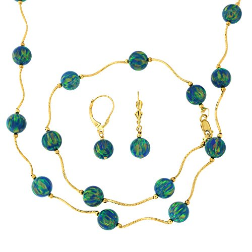 - 14k Yellow Gold Diamond Cut 8mm Simulated Green Opal Station Necklace, Earrings and Bracelet Set