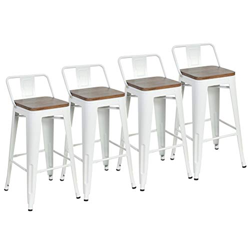 DeKea 30 Inch Low Back Bar Stools with Wooden Top Counter Height Metal Stool Set of 4 for Kitchen or Indoor Outdoor Barstools, White