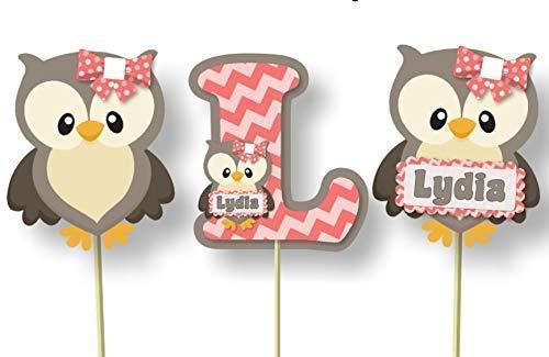 Prime Amazon Com Personalized Coral Pink Owl Baby Shower Interior Design Ideas Skatsoteloinfo