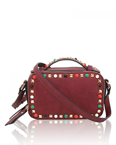 LeahWard Studded Handbag Cross Size Bag Body Women Women's Fancy For Burgundy Small qSfrxtqwO