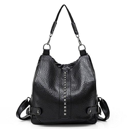 Bolso De Hombro Versión Coreana De La Nueva Moda College Style PU Mochila Bolso De La Escuela Ladies Hand Black
