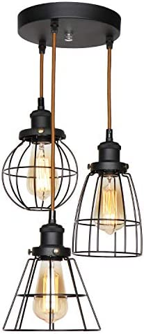 XIDING Industrial Antique Kitchen Island 3-Lights Metal Wire Cage Pendant Chandelier Lighting Fixtures Vintage Black Farmhouse Hanging Light 3 Sockets