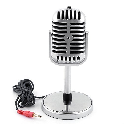 Oumij Classic Retro Style Dynamic Stereo Microphone Mic with 3.5MM Audio Cable for PC Notebook with Microphone Switch, Switch Position is Located in The top of The Microphone Head, Convenient