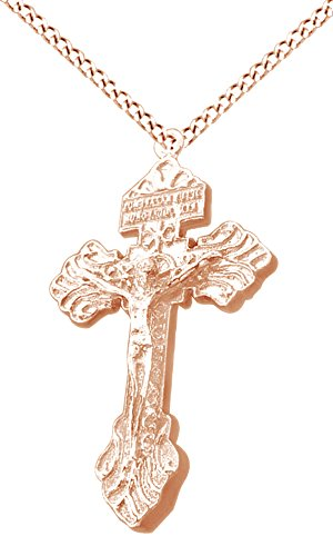 Men's Hip Hop Jewelry Cross Jesus Pendant Necklace In 14k Rose Gold Over Sterling Silver by AFFY