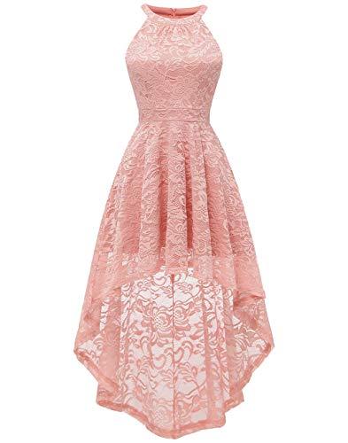 BeryLove Women's Halter Hi-Lo Floral Lace Cocktail Dress Sleeveless Bridesmaid Formal Swing Dress BLP7028BlushXS -