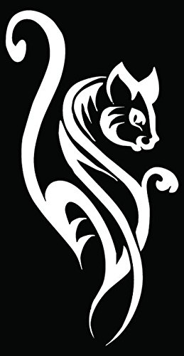 Tribal Cat Meow Car Truck Window Bumper Vinyl Graphic Decal Sticker- (6 inch) / (15 cm) Tall GLOSS BLACK Color ()