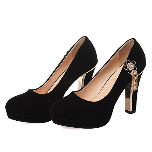 AmoonyFashion Womens Round Closed Toe High Heels Pull On Solid Pumps-Shoes Black q0nJ8s0