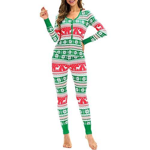 2PC Women Snowflake Elk Long Sleeves Christmas Pajamas Set Top Blouse+Pants -
