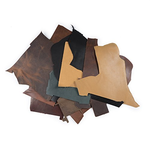 2lb Box of Top Grain Leather Remnants and Leather Scraps form USA Raised Cows, 2 - 3 MM Thick (4.5-5.5 Ounces) Leather For Crafts in an Assortment of Earth Tone Colors