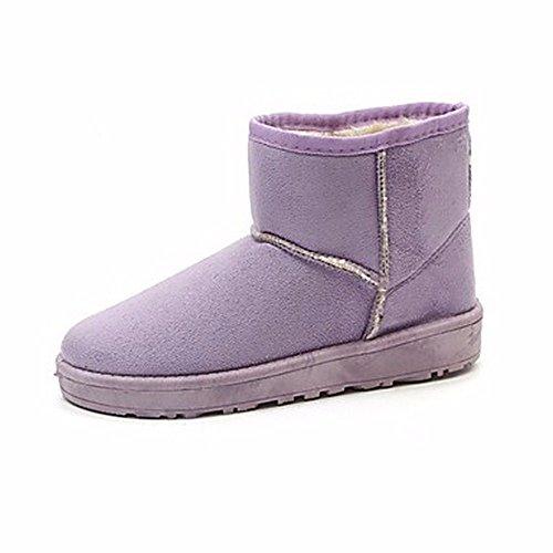 Rose Confort Hiver Automne Pour Un Bourgogne Mollet Plat ZHUDJ purple Femmes Bottes Chaussures Pour Brun Bottes Talon Neige Bottes Café Rouge w48qTA68O