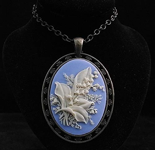 24 Vintage Style Resin Lily of The Valley Cameo Pendant Necklace Cameo Italian Pin Pendant