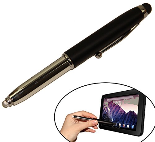 Holiday Gift- Elegant Stylus Pen In Box! Stylus, Compatible With Any Touch Screen Device - Mini LED Light + 3 Spare Batteries - Black Ink Ballpoint Pen With Cover, Single Pack. By Mega Stationers - Nice 3 Light