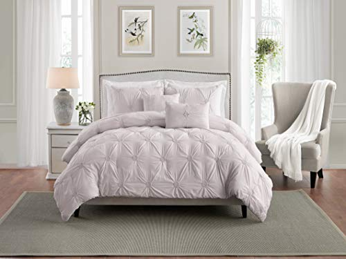 Swift Home Premium Bedding Set Collection 3-Piece Floral Ruched Pinch Pleat Pintuck Comforter Set - King/California King, Rose Blush