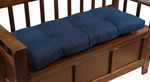 The Gripper Non-Slip Tufted Omega Universal Bench Cushion, 36″, Indigo