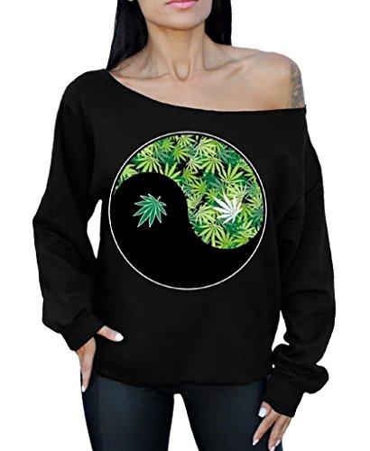 Awkward Styles Awkwardstyles Weed Ying Yang Off The Shoulder Oversized Sweater Sweatshirt Kush S Black