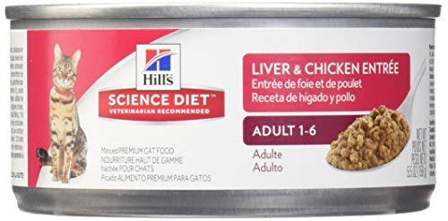 HillS Science Diet Adult Wet Cat Food, Liver & Chicken Entrée Minced Canned Cat Food, 5.5 Oz, 24 Pack
