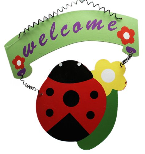 Four Seasons Green and Red Ladybug Hanging Outdoor Welcome Sign - Ladybug Welcome Sign