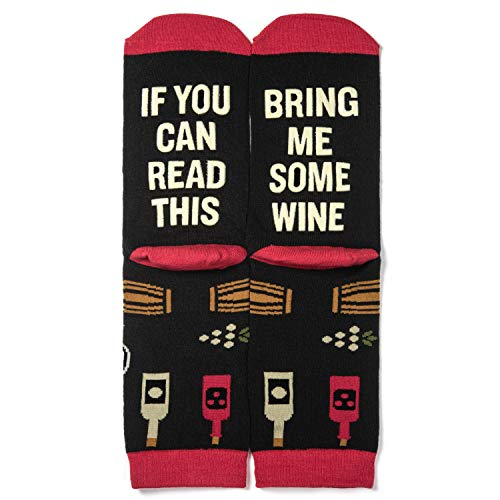Lavley - Women's Novelty Socks - If You Can Read This Bring Me Some Wine (Wine) (Bring Me A Glass Of Wine Socks)