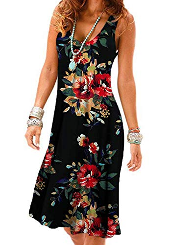 - Floral Summer Dresses for Women Casual Loose Vest Tank Dress Knee Length Sleeveless Size XL
