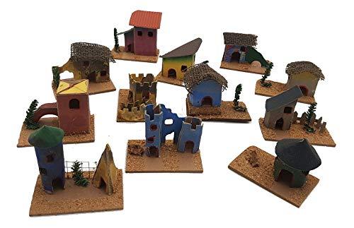 pequeños monelli Casitas belén Variados de Madera y Papel de Colores Accesorios para decoración de Navidad, 12 Unidades, 8 x 5 cm: Amazon.es: Hogar