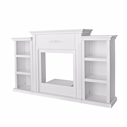 White Ivory Plasma LCD LED Flat Panel TV Stand Unit Entertainment Media Console Open Shelves Organization 2 Bookcases Home Living Room Décor Mantel Supports Up to 85 LBS Fireplace Insert Not Included (Tv Bookcase Lcd)