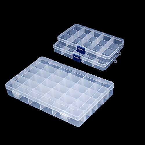 - Snowkingdom Plastic Grid Box Storage Organizer Case for Display Collection with Adjustable Dividers - 3 Pack (1pc 36 Grids + 2pc 15 Grids) - Free Letter Stickers