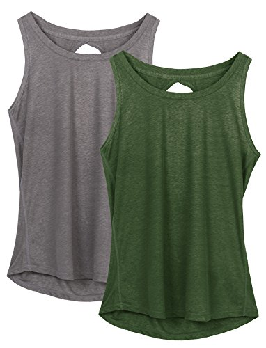 Yoga Shirt - icyzone Yoga Tops Activewear Workout Clothes Open Back Fitness Racerback Tank Tops for Women (S, Grey/Green)