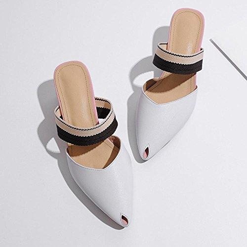 GJDE Verano Sandalias y Zapatillas de Cabeza de Pescado Pequeño Femenina Gruesa con Mujer Verano Vestido Informal White