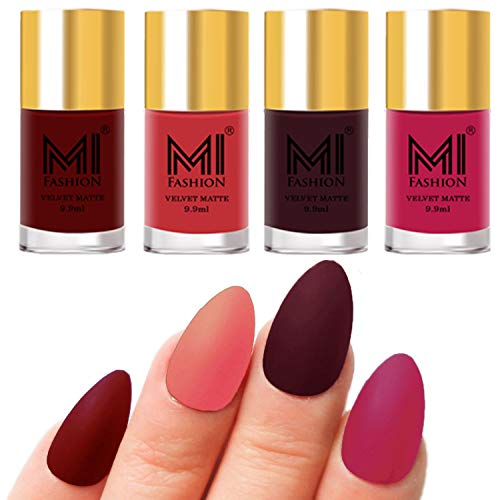 MI Fashion Nail Paints Combo Red, Light Peach, Wine, Pink Unique Matte Nail Polish Set of 4 Pcs 9.9ml each