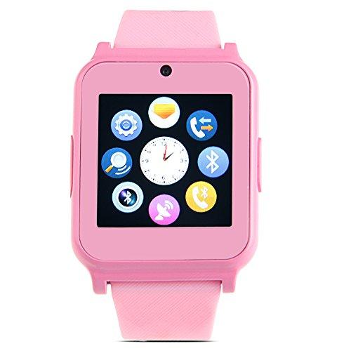 Padgene Bluetooth / SIM-Karte SmartWatch Armbanduhr Kamera GSM GPRS Tracker für Kinder Android iOS (Rosa)